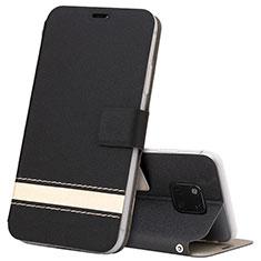 Custodia Portafoglio In Pelle Cover con Supporto T06 per Huawei Mate 20 Pro Nero