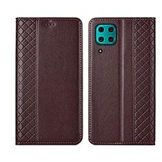 Custodia Portafoglio In Pelle Cover con Supporto T06 per Huawei Nova 7i Marrone