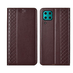 Custodia Portafoglio In Pelle Cover con Supporto T06 per Huawei P40 Lite Marrone