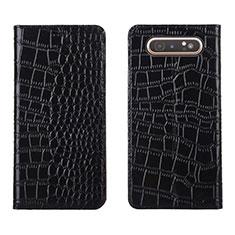 Custodia Portafoglio In Pelle Cover con Supporto T06 per Samsung Galaxy A80 Nero