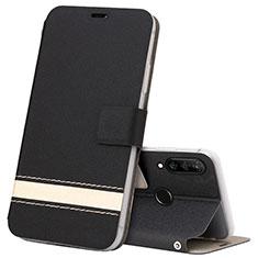 Custodia Portafoglio In Pelle Cover con Supporto T07 per Huawei P30 Lite XL Nero