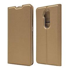 Custodia Portafoglio In Pelle Cover con Supporto T07 per OnePlus 7T Pro Oro