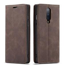 Custodia Portafoglio In Pelle Cover con Supporto T07 per OnePlus 8 Marrone