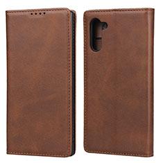 Custodia Portafoglio In Pelle Cover con Supporto T07 per Samsung Galaxy Note 10 5G Marrone