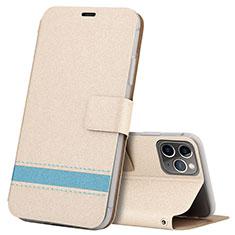Custodia Portafoglio In Pelle Cover con Supporto T08 per Apple iPhone 11 Pro Oro