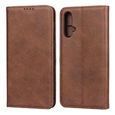 Custodia Portafoglio In Pelle Cover con Supporto T08 per Huawei Nova 5 Marrone