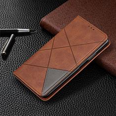 Custodia Portafoglio In Pelle Cover con Supporto T08 per Oppo Reno4 Pro 5G Marrone