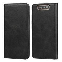 Custodia Portafoglio In Pelle Cover con Supporto T08 per Samsung Galaxy A80 Nero