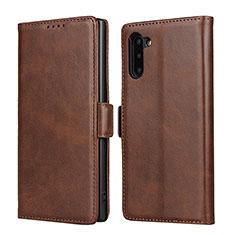 Custodia Portafoglio In Pelle Cover con Supporto T08 per Samsung Galaxy Note 10 5G Marrone