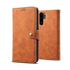 Custodia Portafoglio In Pelle Cover con Supporto T09 per Huawei P30 Pro Arancione