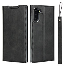 Custodia Portafoglio In Pelle Cover con Supporto T09 per Samsung Galaxy Note 10 5G Nero