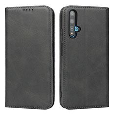 Custodia Portafoglio In Pelle Cover con Supporto T10 per Huawei Honor 20 Nero