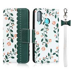Custodia Portafoglio In Pelle Cover con Supporto T10 per Huawei P30 Lite New Edition Verde