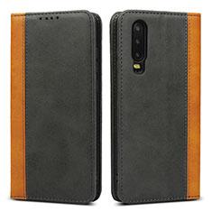 Custodia Portafoglio In Pelle Cover con Supporto T10 per Huawei P30 Nero