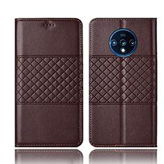 Custodia Portafoglio In Pelle Cover con Supporto T10 per OnePlus 7T Marrone