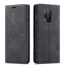 Custodia Portafoglio In Pelle Cover con Supporto T10 per OnePlus 8 Pro Nero