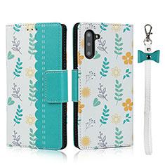 Custodia Portafoglio In Pelle Cover con Supporto T10 per Samsung Galaxy Note 10 5G Ciano