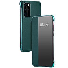 Custodia Portafoglio In Pelle Cover con Supporto T12 per Huawei P40 Pro Verde
