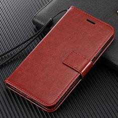 Custodia Portafoglio In Pelle Cover con Supporto T14 per Xiaomi Mi Note 10 Marrone