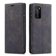 Custodia Portafoglio In Pelle Cover con Supporto T15 per Huawei P40 Pro Nero