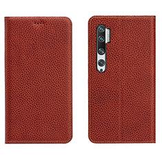 Custodia Portafoglio In Pelle Cover con Supporto T16 per Xiaomi Mi Note 10 Marrone