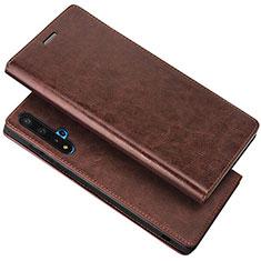 Custodia Portafoglio In Pelle Cover con Supporto T18 per Huawei Honor 20 Marrone