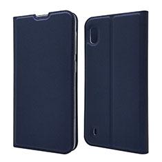 Custodia Portafoglio In Pelle Cover con Supporto U01 per Samsung Galaxy A10 Blu