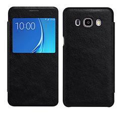 Custodia Portafoglio In Pelle Cover S01 con Supporto per Samsung Galaxy J7 (2016) J710F J710FN Nero