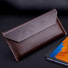 Custodia Portafoglio In Pelle Cover T02 per Huawei Mate Xs 5G Marrone