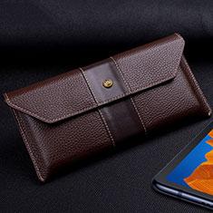 Custodia Portafoglio In Pelle Cover T03 per Huawei Mate Xs 5G Marrone