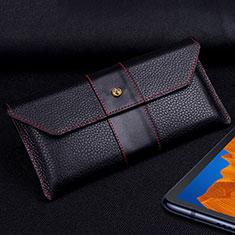 Custodia Portafoglio In Pelle Cover T03 per Huawei Mate Xs 5G Nero