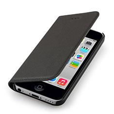 Custodia Portafoglio In Pelle per Apple iPhone 5C Nero