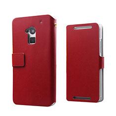 Custodia Portafoglio In Pelle per HTC One Max Rosso