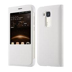 Custodia Portafoglio In Pelle per Huawei G8 Bianco