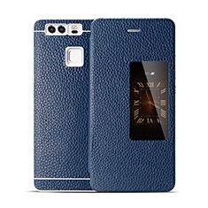 Custodia Portafoglio In Pelle per Huawei P9 Blu