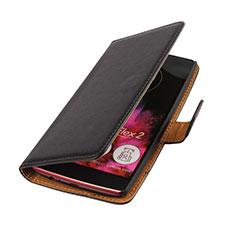 Custodia Portafoglio In Pelle per LG G Flex 2 Nero