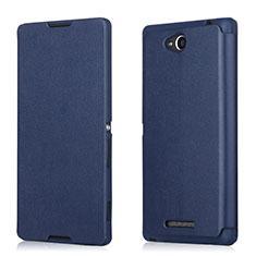 Custodia Portafoglio In Pelle per Sony Xperia C S39h Blu