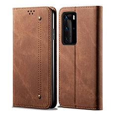 Custodia Portafoglio In stoffa con Supporto H01 per Huawei P40 Pro Marrone