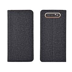 Custodia Portafoglio In stoffa con Supporto H01 per Samsung Galaxy A80 Nero