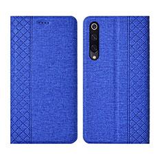 Custodia Portafoglio In stoffa con Supporto H01 per Xiaomi Mi A3 Blu