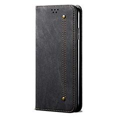 Custodia Portafoglio In stoffa con Supporto L01 per Huawei P Smart (2020) Nero