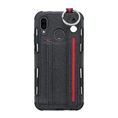 Custodia Portafoglio In stoffa con Supporto per Huawei P20 Lite Nero
