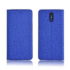 Custodia Portafoglio In stoffa con Supporto per LG Q7 Blu