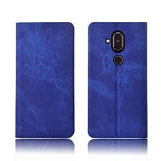 Custodia Portafoglio In stoffa con Supporto per Nokia 7.1 Plus Blu