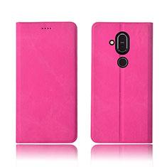 Custodia Portafoglio In stoffa con Supporto per Nokia 7.1 Plus Rosa Caldo