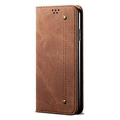 Custodia Portafoglio In stoffa con Supporto per Samsung Galaxy A21s Marrone