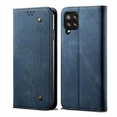 Custodia Portafoglio In stoffa con Supporto per Samsung Galaxy A42 5G Blu