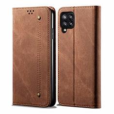 Custodia Portafoglio In stoffa con Supporto per Samsung Galaxy A42 5G Marrone