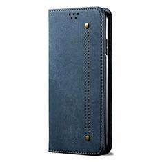 Custodia Portafoglio In stoffa con Supporto per Samsung Galaxy M31 Blu
