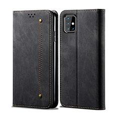Custodia Portafoglio In stoffa con Supporto per Samsung Galaxy M31s Nero